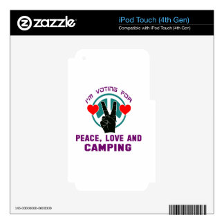 Peace Love And Camping. iPod Touch 4G Decals