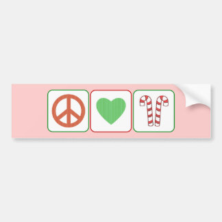 Peace, Love and Candy Canes Bumper Sticker