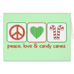 Peace, Love and Candy Canes Greeting Card