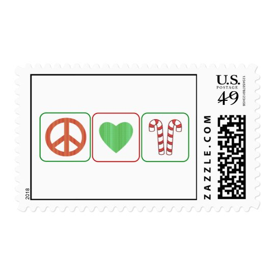 Peace, Love and Candy Canes Postage