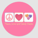 Peace Love and Candy Hearts Round Stickers