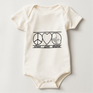 Peace Love and Charity Baby Bodysuit