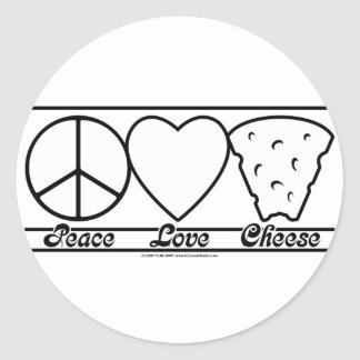 Peace Love and Cheese Classic Round Sticker
