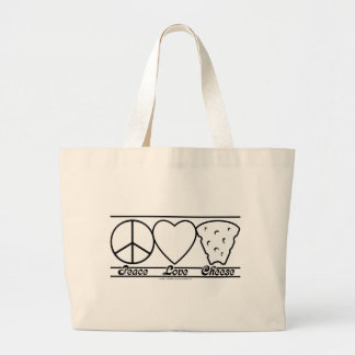 Peace Love and Cheese Large Tote Bag
