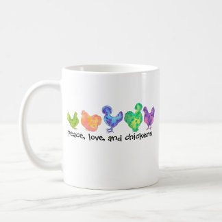 peace, love, and chickens mug