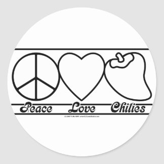 Peace Love and Chilies Classic Round Sticker