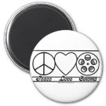 Peace Love and Cinema Refrigerator Magnets