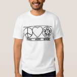 Peace Love and Cinema Tee Shirt