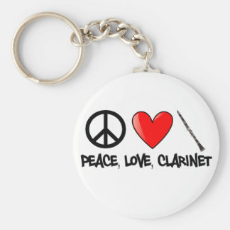 Peace, Love, and Clarinet Basic Round Button Keychain