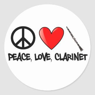 Peace, Love, and Clarinet Classic Round Sticker