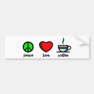 Peace, Love and Coffee - Bumper Sticker
