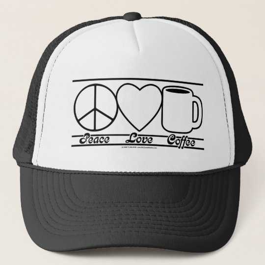 Peace Love and Coffee Trucker Hat