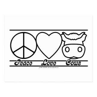 Peace Love and Cows Postcard