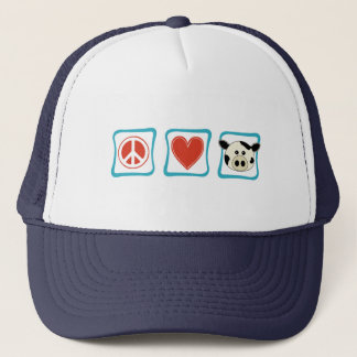 Peace Love and Cows Squares Trucker Hat