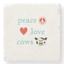 Peace Love and Cows Stone Coaster