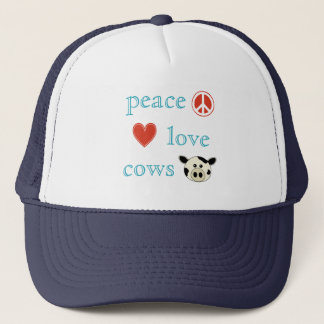 Peace Love and Cows Trucker Hat