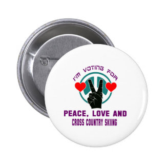 Peace Love And Cross Country Skiing. 2 Inch Round Button