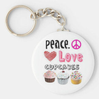 peace love and cupcakes keychain