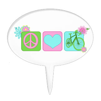 Peace Love and Cycling Cake Topper