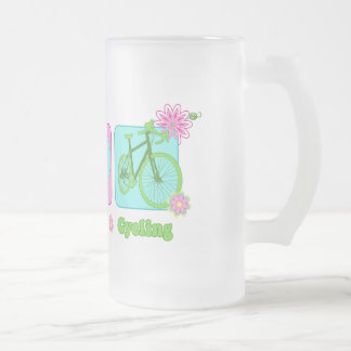 Peace Love and Cycling Frosted Glass Beer Mug