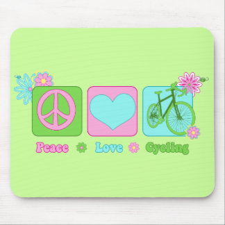 Peace Love and Cycling Mouse Pad