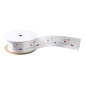 Peace Love and Czech Republic Satin Ribbon