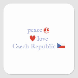 Peace Love and Czech Republic Square Sticker