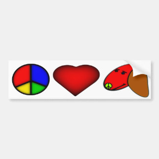 peace, Love, and Dachshund Bumper Sticker