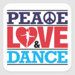 Peace, Love and Dance Sticker