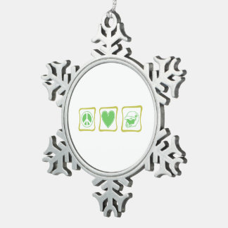 Peace Love and Dirt Bike Snowflake Pewter Christmas Ornament