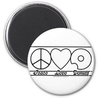 Peace Love and Donuts 2 Inch Round Magnet