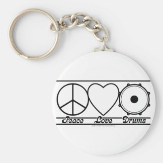 Peace Love and Drums Keychains