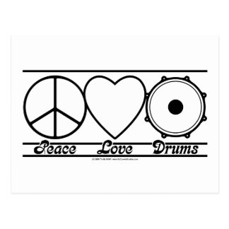 Peace Love and Drums Post Cards