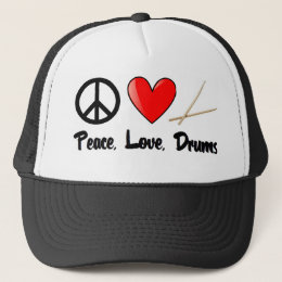 Peace, Love, and Drums Trucker Hat