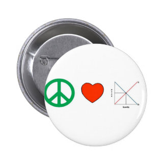 Peace Love and Economics Pins