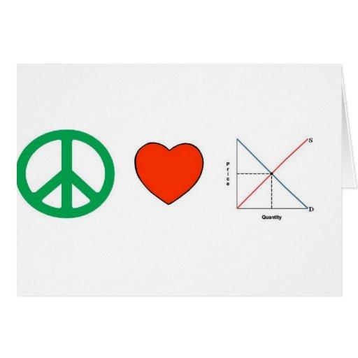 Peace Love and Economics Card