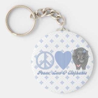 Peace Love and Elephants Keychain