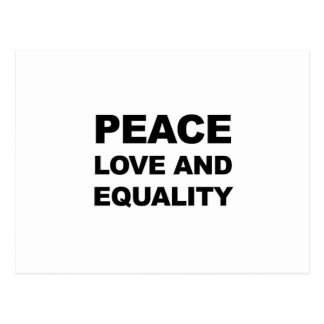 PEACE, LOVE AND EQUALITY POSTCARD