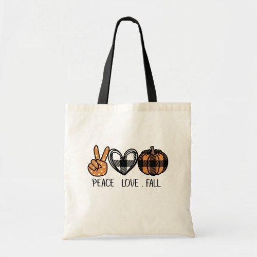 Peace Love and Fall Tote Bag
