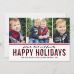 "Peace Love and Family | Multi Photo Holiday Card<br><div class=""desc"">Modern Happy Holidays photo card includes three (3) photos and bold white text that can be personalized with your preferred greeting, last name, family members, and year. Features a rustic red and black buffalo plaid / check pattern on the front and back sides of the card. Photos credit: Two Fish...</div>"