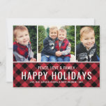 "Peace Love and Family | Multi Photo Holiday Card<br><div class=""desc"">Modern holiday photo card includes three (3) photos and bold white text that can be personalized with your preferred greeting,  last name,  family members,  and year. Features a rustic red and black buffalo plaid pattern on the front and back sides of the card. Photos credit: Two Fish Photography www.twofishphoto.com</div>"