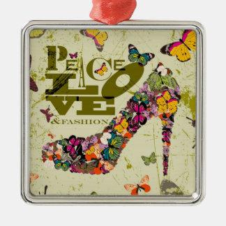 Peace, Love, and Fashion. xo PJ. Metal Ornament