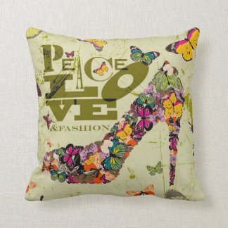 Peace Love and Fashion, xo PJ. Throw Pillow