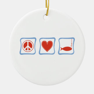 Peace Love and Fishing Squares Ceramic Ornament