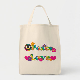 Peace Love and Flower Power 60s Hippie Tote Bag