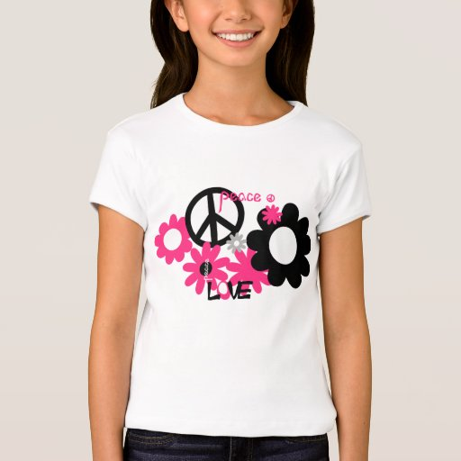 Peace Love and Flowers hot pink and black T-Shirt