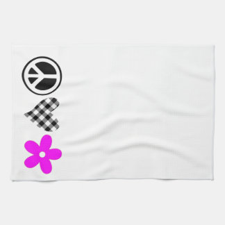 Peace Love and Flowers Hand Towels