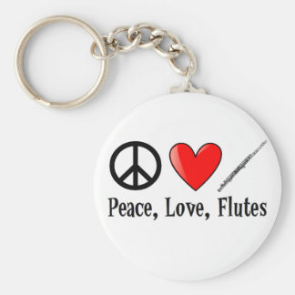 Peace, Love, and Flutes Keychain