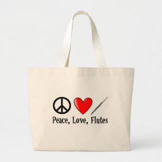 Peace, Love, and Flutes Large Tote Bag