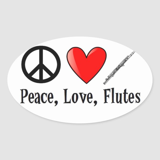 Peace, Love, and Flutes Oval Sticker